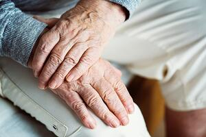 alzheimers disease hands elderly person